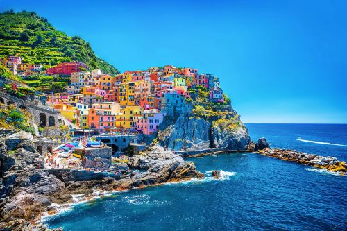 The colourful village of Manarola in the Cinque Terre National Park in Italy