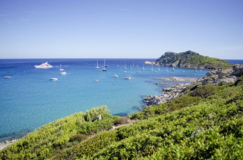 The beautiful anchorage of Cap Taillat with luxury charter yachts at anchor