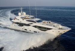 A Sunseeker 116 yacht for charter while sailing on the French Riviera