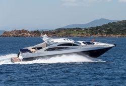 An open yacht Sunseeker Predator 72 cruising in Sardinia