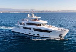 A luxury charter yacht Cantiere delle Marche 33m cruising in the south of France on a beautiful sunny day