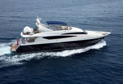 A Princess 95 motor yacht cruising on the French Riviera