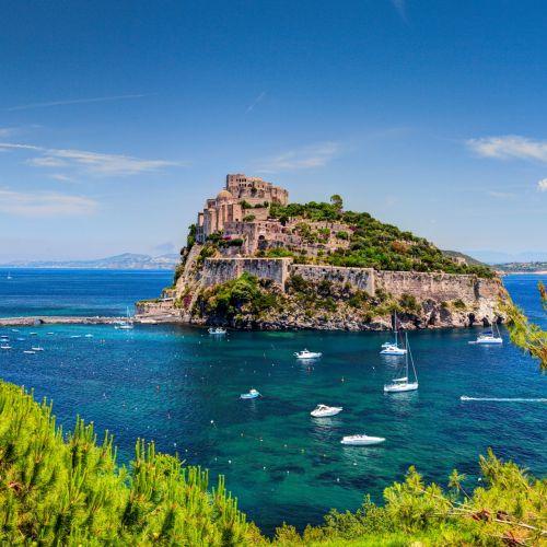 The island of Ischia and its Aragonese castle on the Amalfi Coast