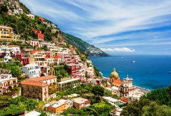 The village of Positano with its colourful buildings on a sunny day