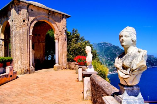 Sculpted busts at Villa Cimbrone on the island of Capri in Italy