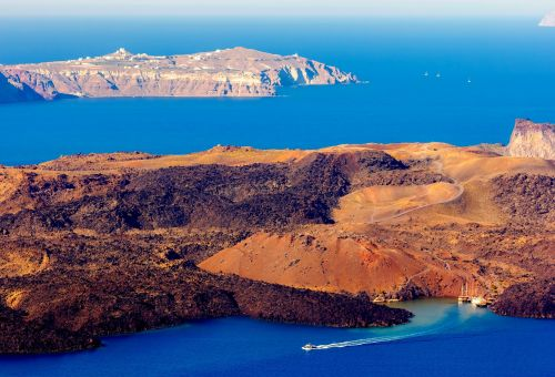 The island of Nea Kameni in the centre of the caldera of Santorini