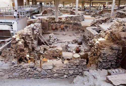 The archaeological site of Akrotiri on the island of Santorini in Greece