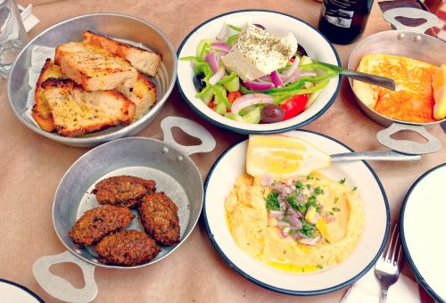 Some typical dishes of the island of Santorini
