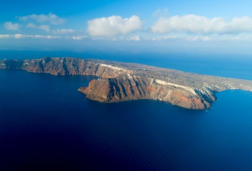 The unspoiled island of Thirassia a few nautical miles from Santorini