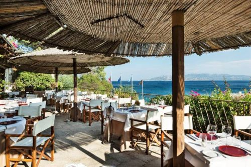 The terrace of the restaurant Il Paguro located in the resort Capo d'Orso in the archipelago of La Maddalena