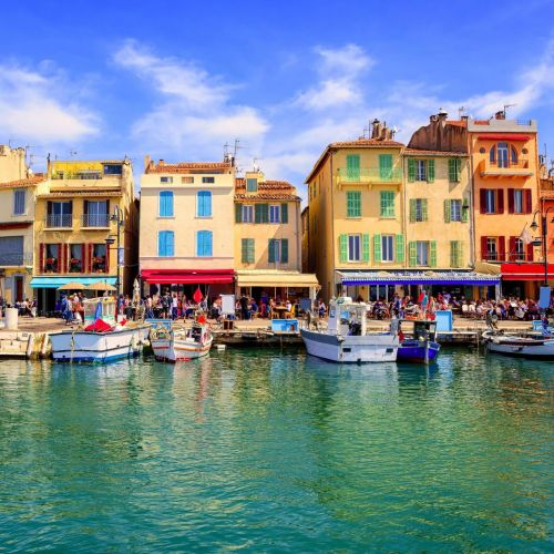 Colourful traditional houses on the port of Cassis in the south of France