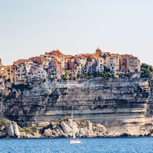 The cliffs and the town of Bonifacio in Corsica