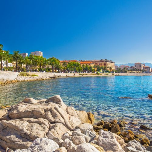 A promenade lined with palm trees and Mediterranean waters in Ajaccio in Corsica