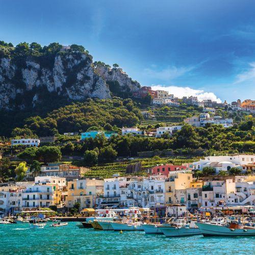 Boats in the small port of Marina Grande on the island of Capri