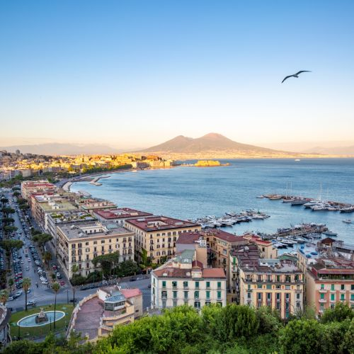 Panoramic view of the city of Naples, Mount Vesuvius and the Gulf of Naples in Italy