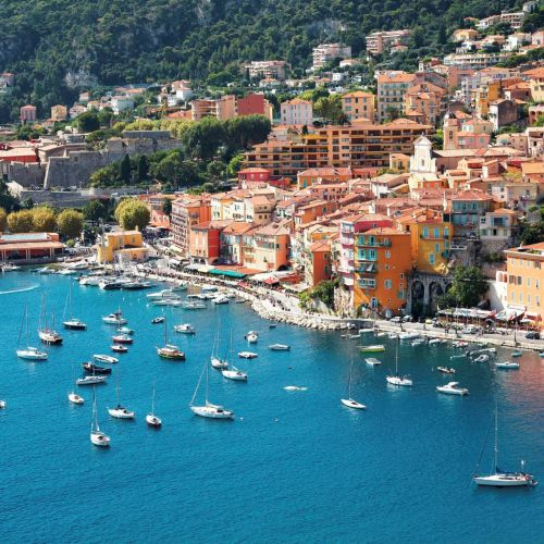 The bay of Villefranche-sur-mer with yachts at anchor on the French Riviera