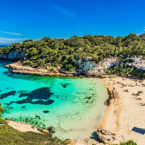 The beautiful beach of Cala d'Or in Mallorca in the Balearic Islands