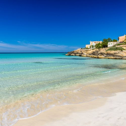 The beautiful beach of Es Trenc in Mallorca in the Balearic Islands