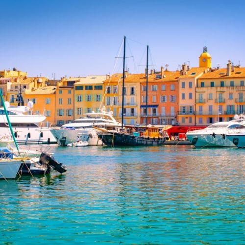 The colourful port of the village of St Tropez in summer with its luxury yachts