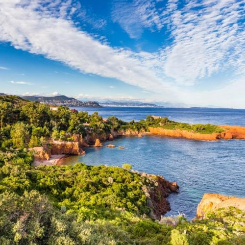 The red rocks of the Esterel near Cannes on the French Riviera