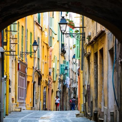 The colourful streets of the old town of Menton on the French Riviera in the Mediterranean