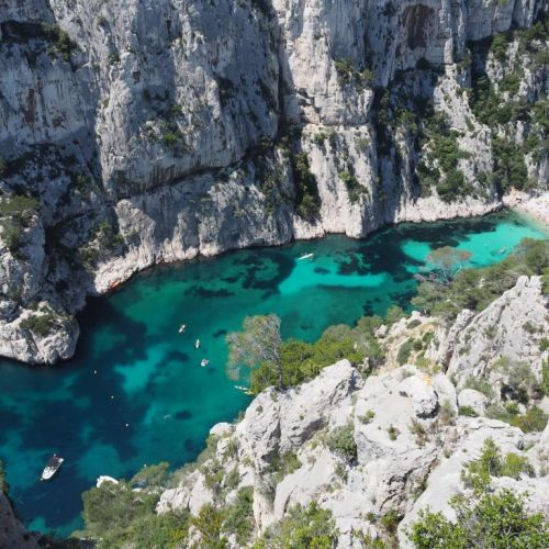 The cliffs and the Calanque d'En Vau in the Calanques National Park near Marseille in France
