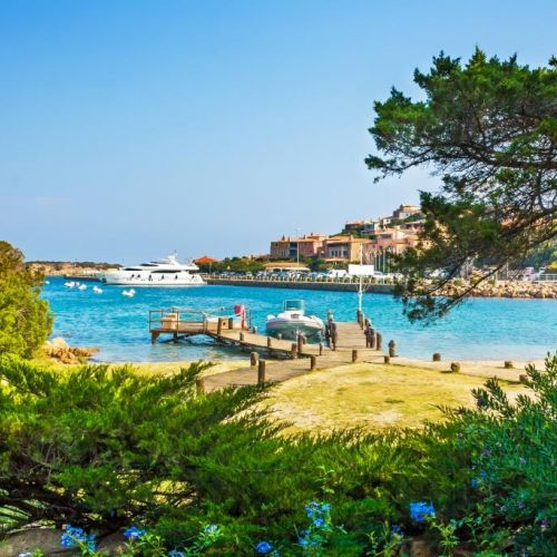 View of the port of Porto Cervo in Sardinia