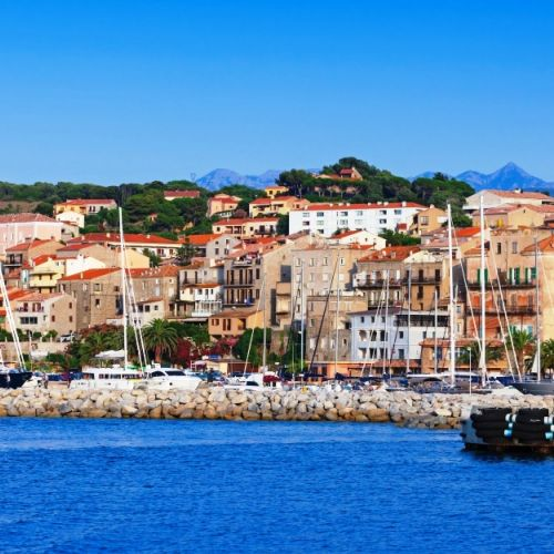 The village of Propriano and its port in southern Corsica