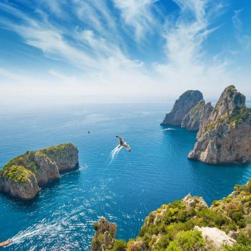 Panorama of the Faraglioni rocks off the island of Capri