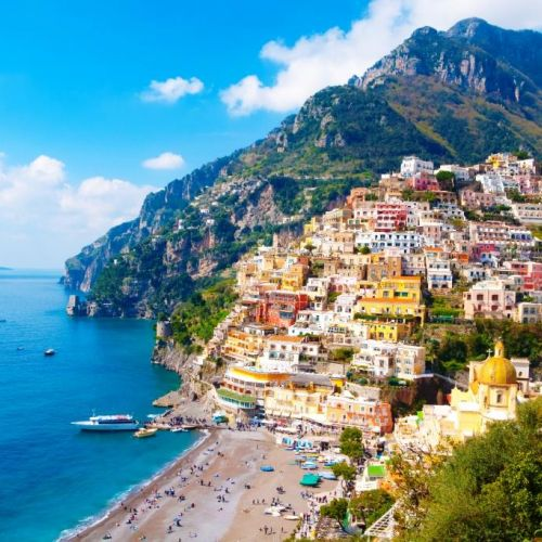 The colourful village of Positano built on a hillside