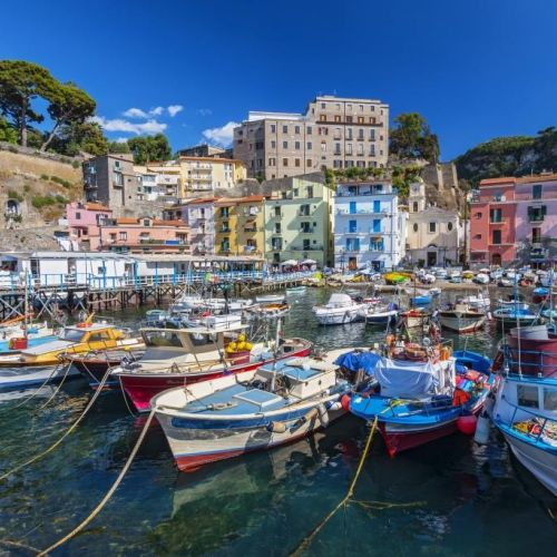 Fishing boats in the port of Sorrento on the Amalfi Coast