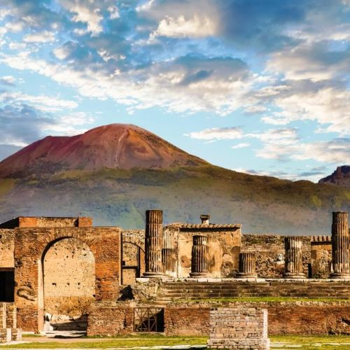 The ruins of the historic site of Pompeii with Mount Vesuvius