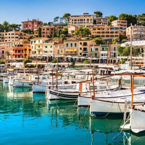 Puerto de Soller and its traditional boats on the island of Mallorca in the Balearic Islands