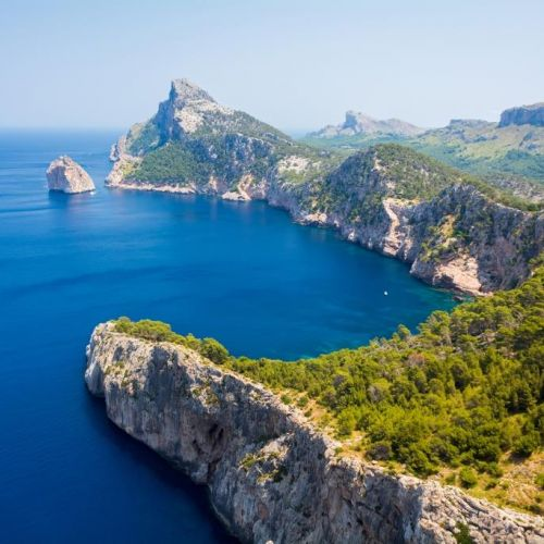 Panoramic view of Cap Formentor in Majorca on a beautiful sunny day