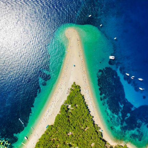 Aerial view of the beach of Zlatni Rat on the island of Brac in Croatia