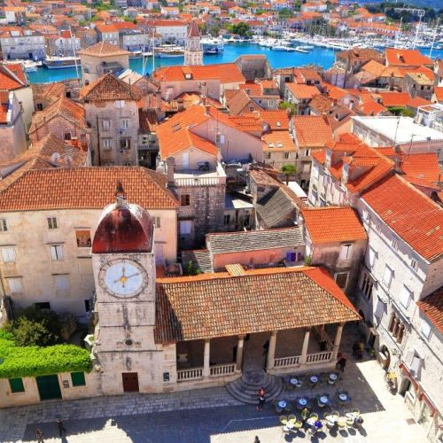 Summer Panorama of the city of Trogir and its bell tower in Croatia