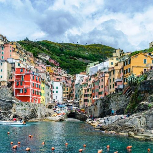 The village of Riomaggiore and its colourful traditional houses in the Cinque Terre in Italy