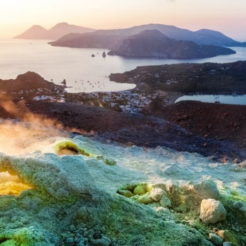 View from the top of Vulcano Island on Lipari and Salina in the Aeolian Islands in Sicily