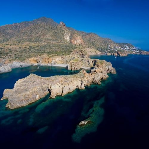 Aerial view of the coastline of Panarea in the Aeolian Islands in Sicily