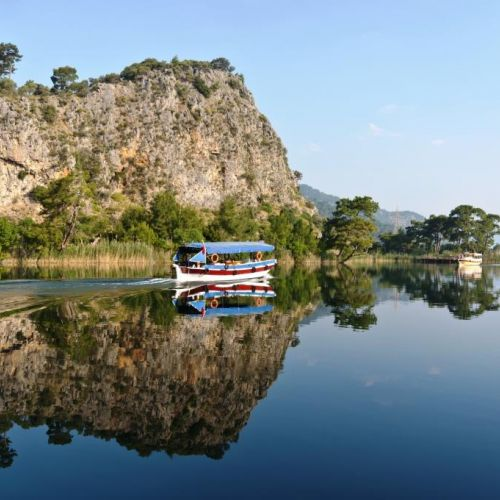 A boat tour on the Dalyan river en route to the historic site of Caunos