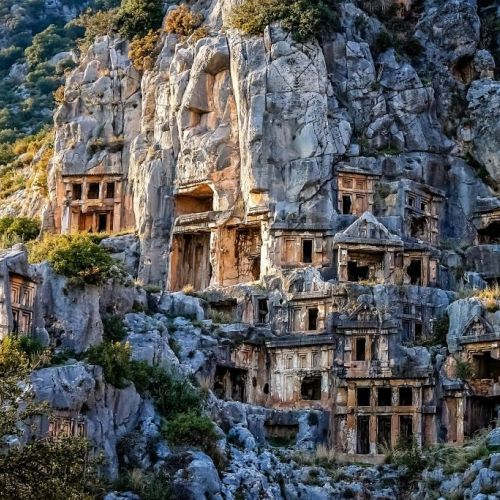 Lycian tombs carved in the rock in the historic city of Caunos in Turkey