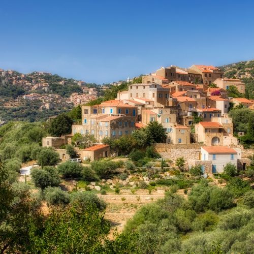 The Corsican village of Pigna with its artists and craftsmen