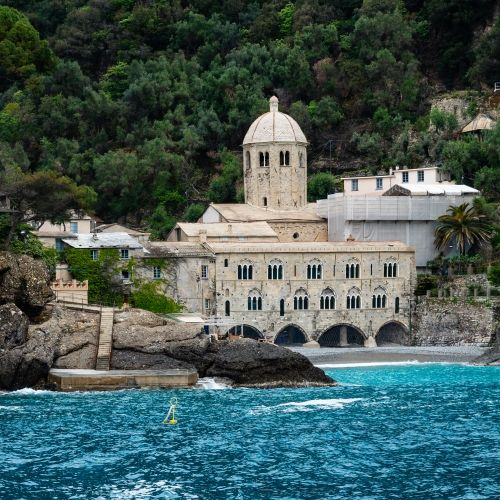 The abbey of San Fruttuoso in Italy