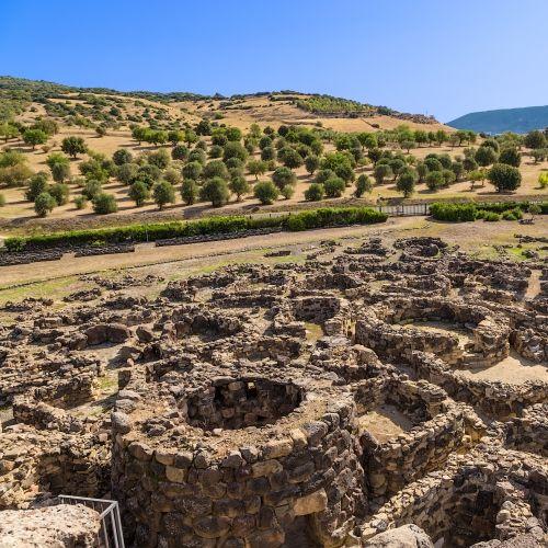 Stone structures dating back to the Nuragic culture in Su Nuraxi Di Barumini in Sardinia