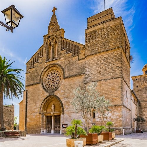 The church of Sant Jaume in the old town of Alcudia in the Balearic Islands