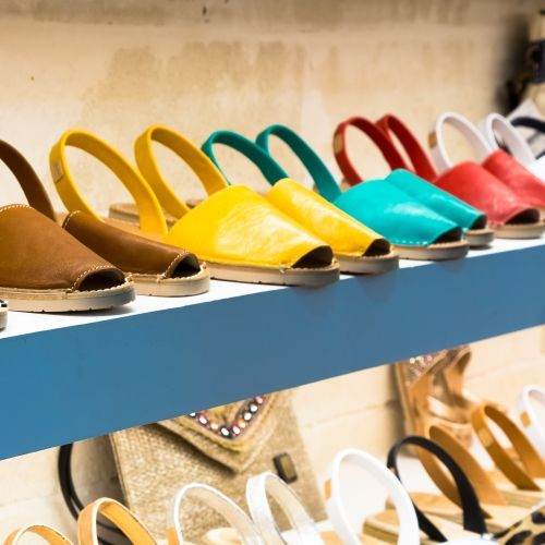 The famous traditional coloured sandals of the island of Menorca with their handcrafted production