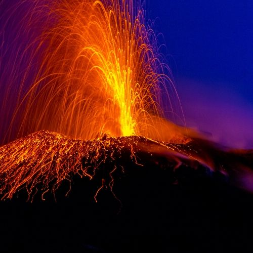 Night view of the erupting Stromboli volcano in the Aeolian Islands in Sicily