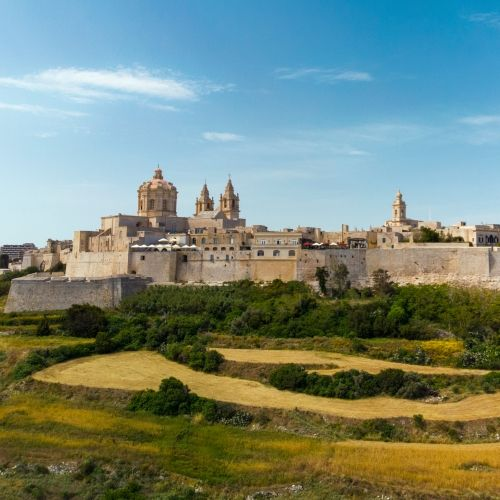 The historical silent city of Mdina with its palaces and surrounding hills