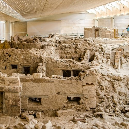 The remains of the ancient Minoan city of Akrotiri