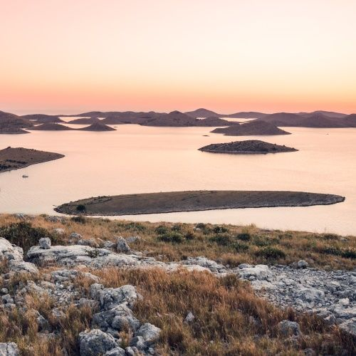 Aerial view of the islands of Kornati National Park in Croatia